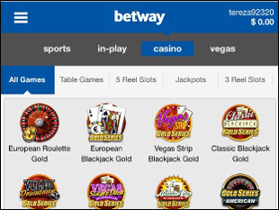 Betway Mobile Casino Lobby