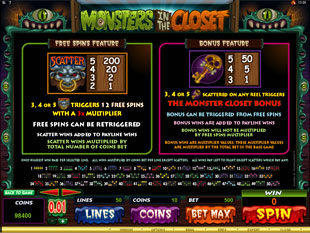 Monsters in the Closet Slots: Bonus Games, 200x Multiplier
