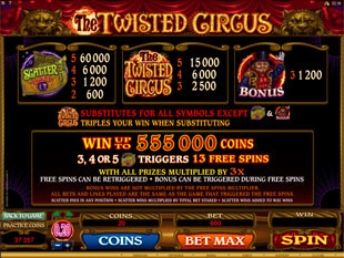 The Twisted Circus Slots Payout